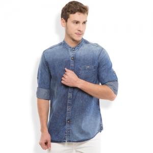 LOCOMOTIVE Men Blue Slim Fit Denim Casual Shirt