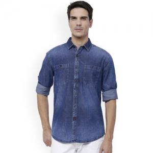 LOCOMOTIVE Men Blue Slim Fit Faded Denim Shirt