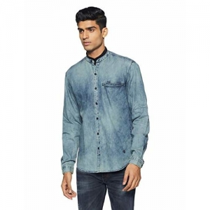 John Players Men's Solid Slim Fit Cotton Casual Shirt