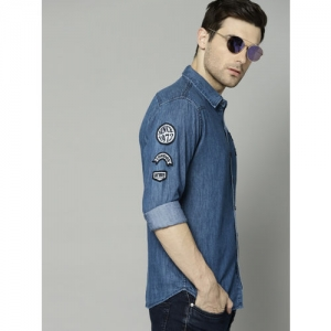French Connection Men Blue Regular Fit Solid Chambray Casual Shirt