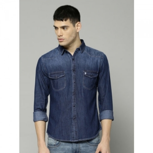 French Connection Men Navy Blue Regular Fit Solid Casual Shirt