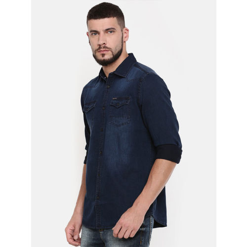 Being Human Clothing Men Blue Regular Fit Denim Casual Shirt