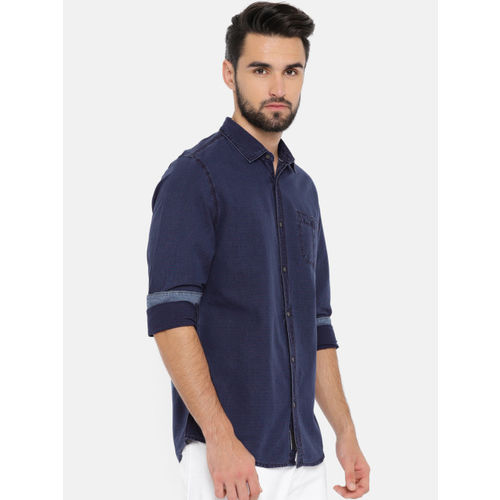 Being Human Clothing Men Blue & Red Slim Fit Striped Casual Shirt