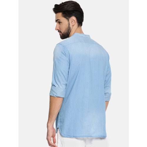 Being Human Clothing Men Blue Slim Fit Washed Casual Chambray Shirt