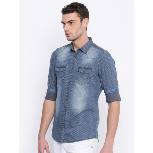 Being Human Men Blue Slim Fit Printed Casual Shirt