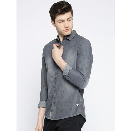Being Human Men Grey Regular Fit Faded Casual Shirt