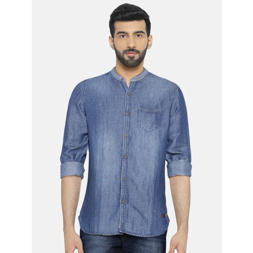 Being Human Clothing Men Blue Solid Slim Fit Casual Shirt