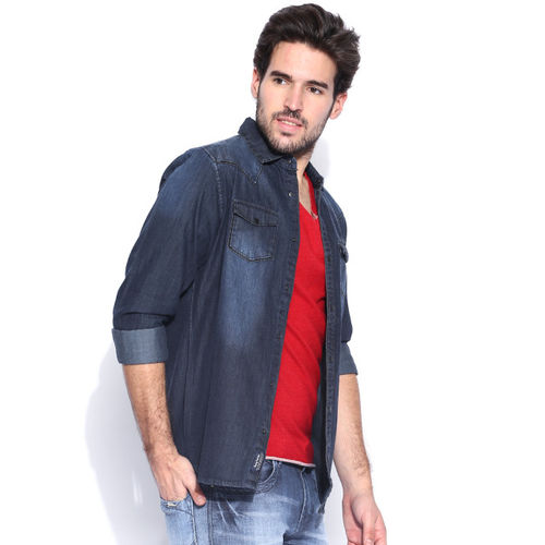 Being Human Clothing Blue Washed Slim Fit Denim Shirt