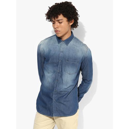 Numero Uno Blue Washed Slim Fit Denim Shirt
