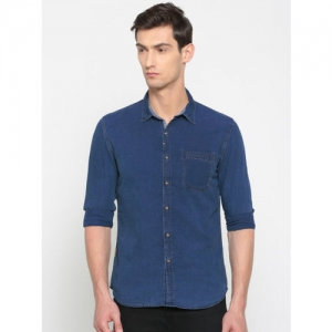 Numero Uno Men Navy Regular Fit Chambray Casual Shirt