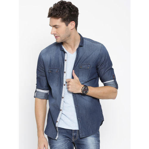 Numero Uno Men Blue Patterned Slim Denim Shirt