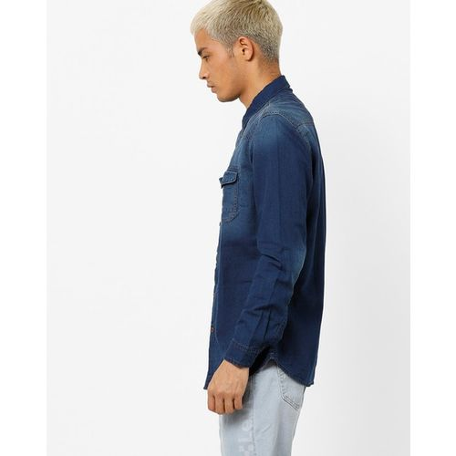 NUMERO UNO Denim Shirt with Buttoned Flap Pockets