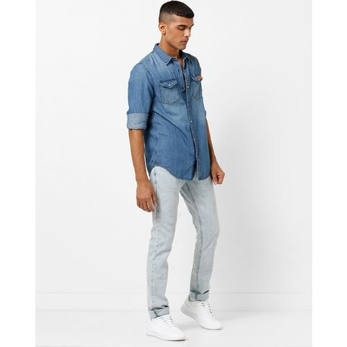 SUPERDRY Panelled Washed Denim Shirt with Flap Pockets