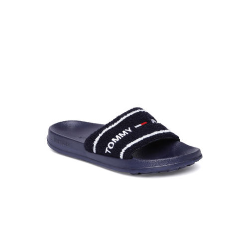 Tommy Hilfiger Women Navy Blue Self Design Sliders