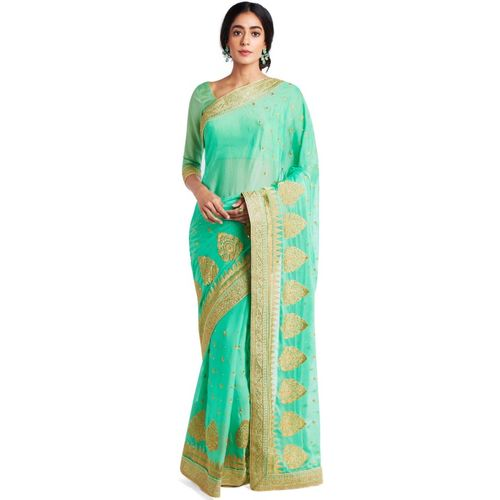 24ed0a89ff Buy Soch Embroidered, Embellished Fashion Poly Silk Saree(Light Green)  online | Looksgud.in