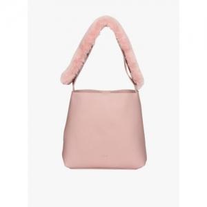 ESBEDA Pink Magnet Closure Solid Fur Belt Handbag