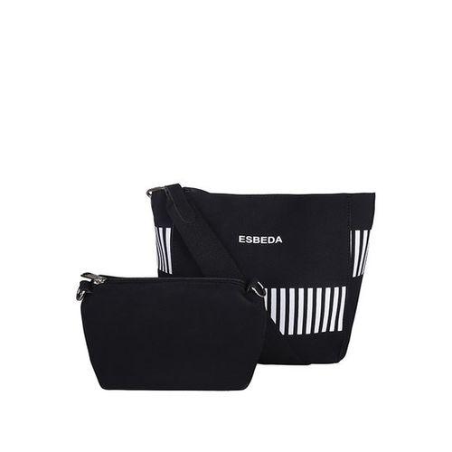 Esbeda Pastel Black & White Striped Hobo Handbag with Pouch