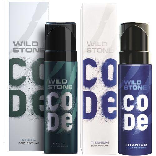 Wild Stone Code Steel & Titanium Combo Perfume Body Spray - For Men(240 ml, Pack of 2)