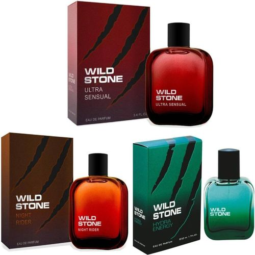 Wild Stone ULTRA SENSUAL EAU DE PARFUME 50ml + HYDRA ENERGY EAU DE PARFUME 50ml + NIGHT RIDER EAU DE PARFUME 50ml - PACK OF 3 Eau de Parfum - 50 ml(For Men)