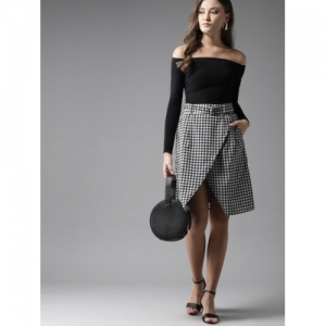 Moda Rapido Women Black & White Printed Wrap Skirt