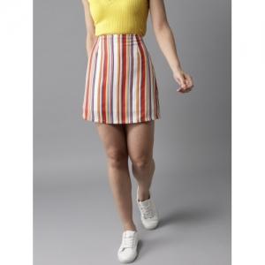 HERE&NOW Women Multicoloured Striped A-Line Mini Skirt