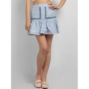 LA LOFT Women White & Blue Striped A-Line Mini Skirt