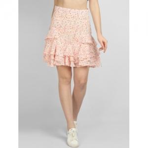 LA LOFT Women Pink Printed A-Line Skirt