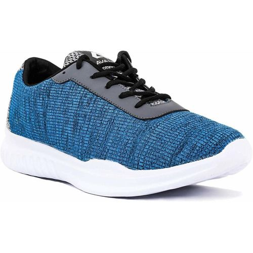 Avant Blue and Grey Mesh Lace-up Running Shoes