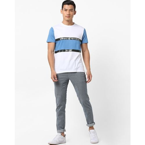 AJIO Colourblock Crew-Neck T-shirt