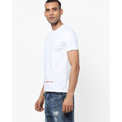 AJIO Slim Fit Crew-Neck T-shirt with Placement Typography