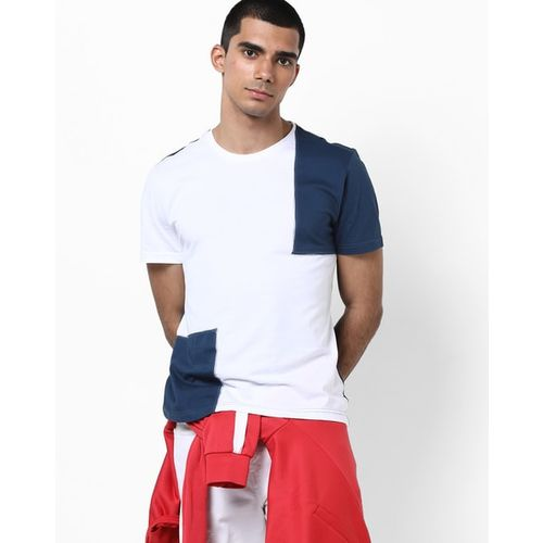 AJIO Colourblock Slim Fit Crew-Neck T-shirt