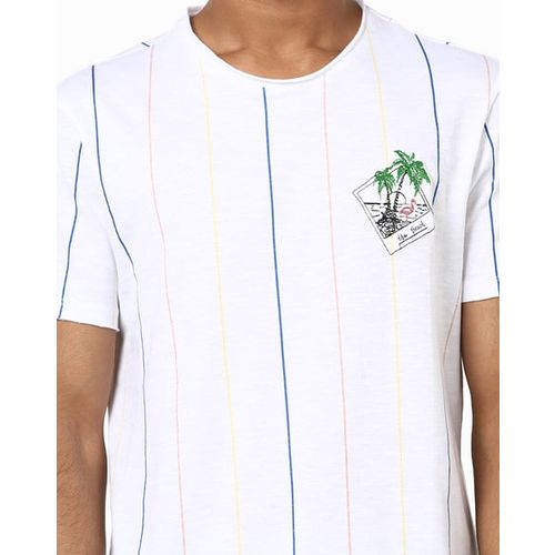 AJIO Striped Crew-Neck T-shirt with Placement Embroidery