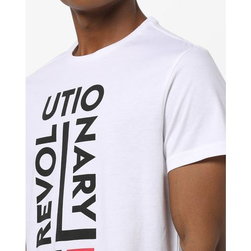 AJIO Typographic Print Slim Fit Crew-Neck T-shirt