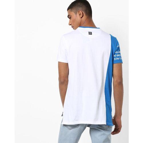 AJIO Colourblock Slim Fit Crew-Neck T-shirt with High-Low Hems