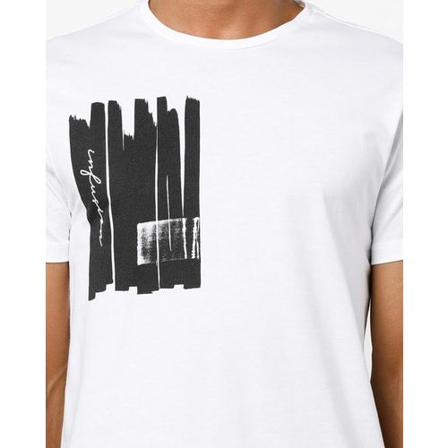 AJIO Crew-Neck T-shirt with Placement Graphic Print
