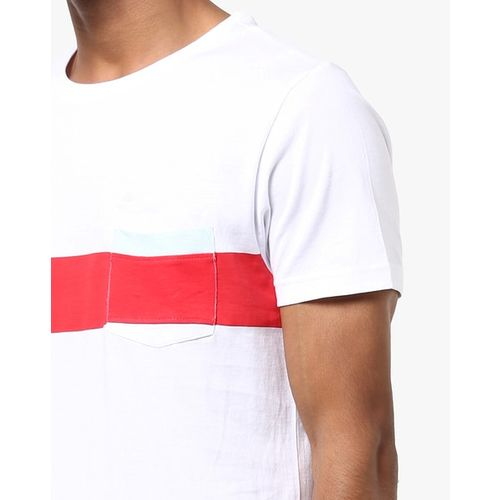 AJIO Slim Fit Crew-Neck T-shirt with Patch Pocket