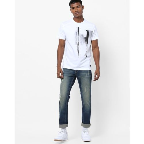 AJIO Slim Fit Printed T-shirt with Heathered Effect