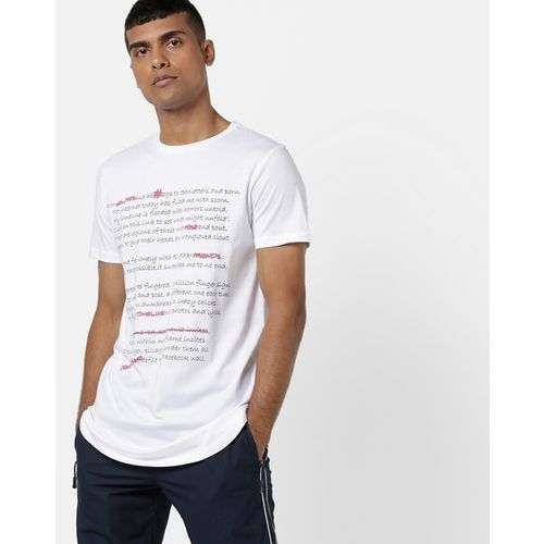 AJIO Slim Fit Typographic Print Crew-Neck T-shirt