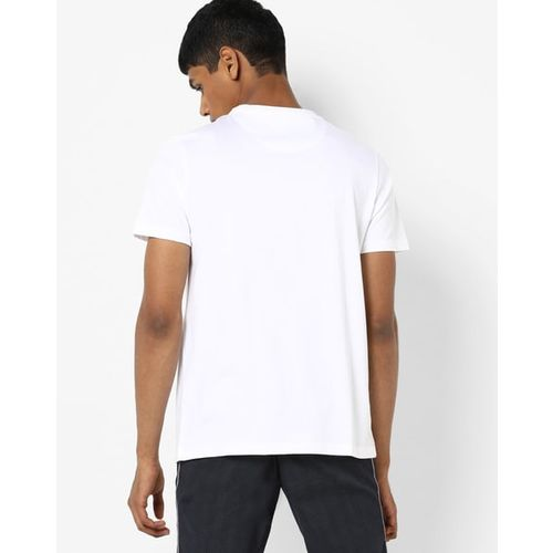 AJIO Crew-Neck T-shirt with Contrast Panel