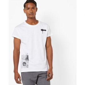 AJIO Crew-Neck T-shirt with Graphic Print