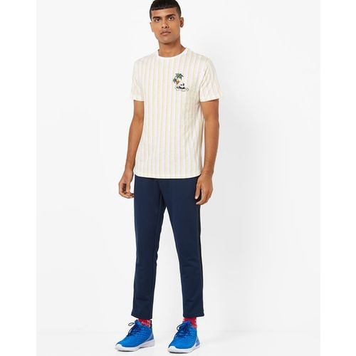AJIO Striped Slim Fit T-shirt with Placement Print