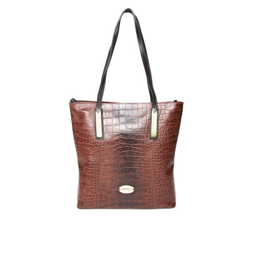 Hidesign Brown Leather Croc Textured Shoulder Bag