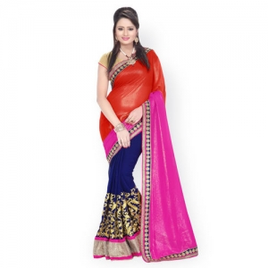 Florence Red & Navy Embroidered Chiffon Partywear Saree