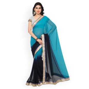 Florence Blue and Navy Ombre Saree