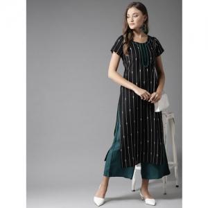 Moda Rapido Women Black & White Striped Straight Kurta