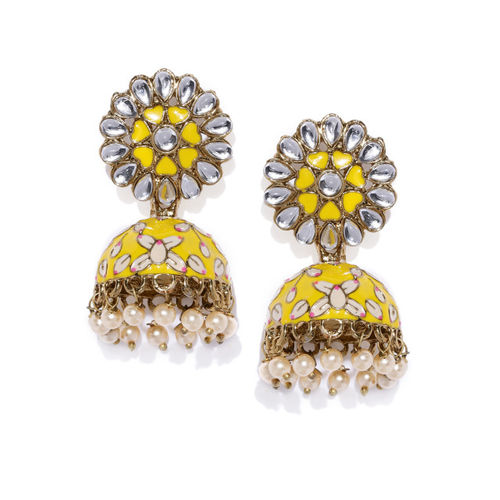 Zaveri Pearls Gold-Toned & Yellow Dome Shaped Jhumkas