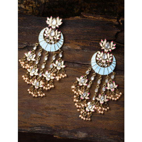 Zaveri Pearls Gold-Toned & Turquoise Blue Crescent Shaped Drop Earrings