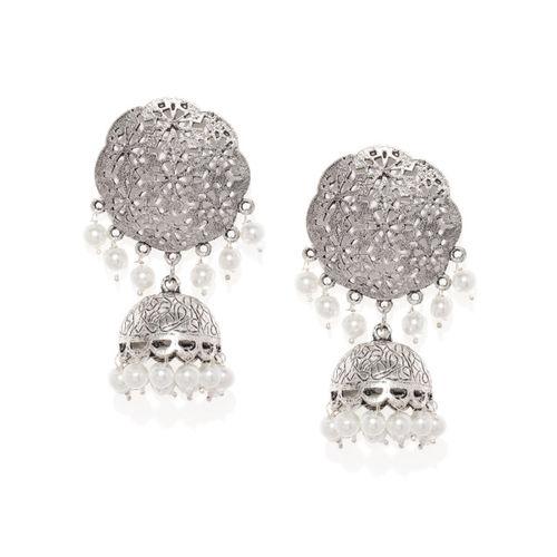 Zaveri Pearls Silver-Toned Oxidized Dome Shaped Jhumkas