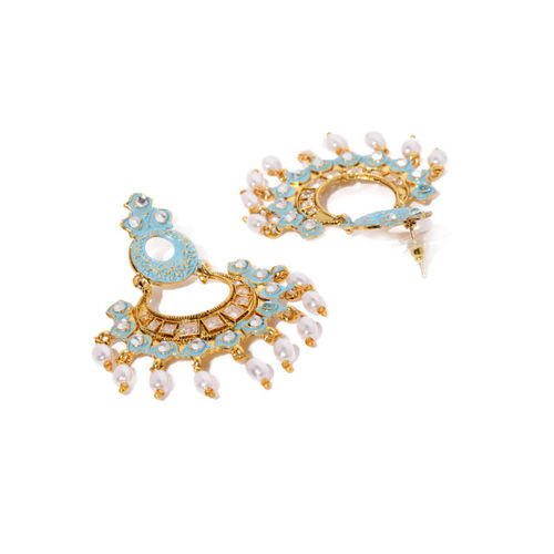 Zaveri Pearls Gold-Toned & Blue Contemporary Drop Earrings