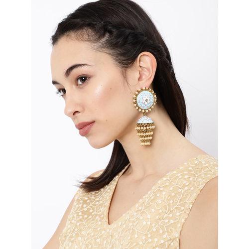 Zaveri Pearls Gold-Toned & Blue Enamelled Meenakari Dome Shaped Jhumkas